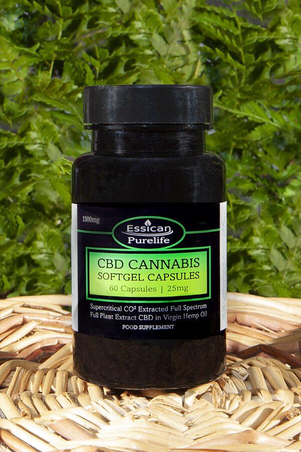 Full spectrum CBD softgel capsules. 60 x 25mg capsules | Essican Purelife CBD capsules UK