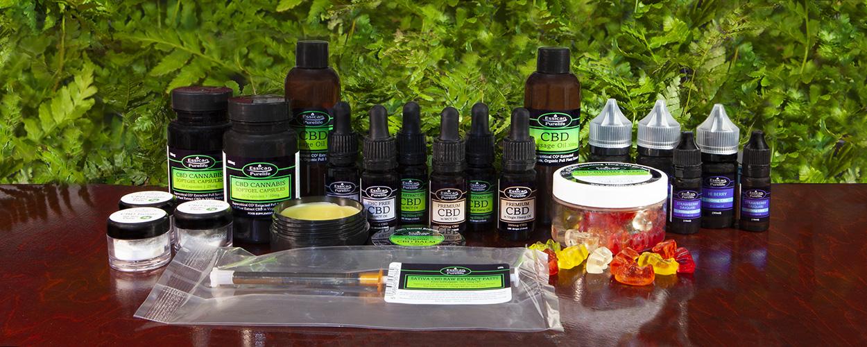 Essican Purelife CBD oil full product range   CBD UK supplier and manufacturer