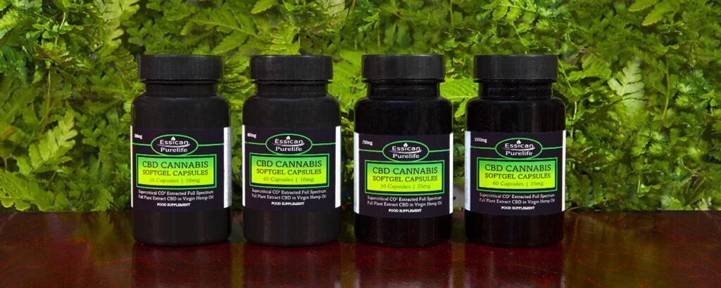 CBD Cannabis softgel Capsules range from Essican Purelife   CBD softgels UK
