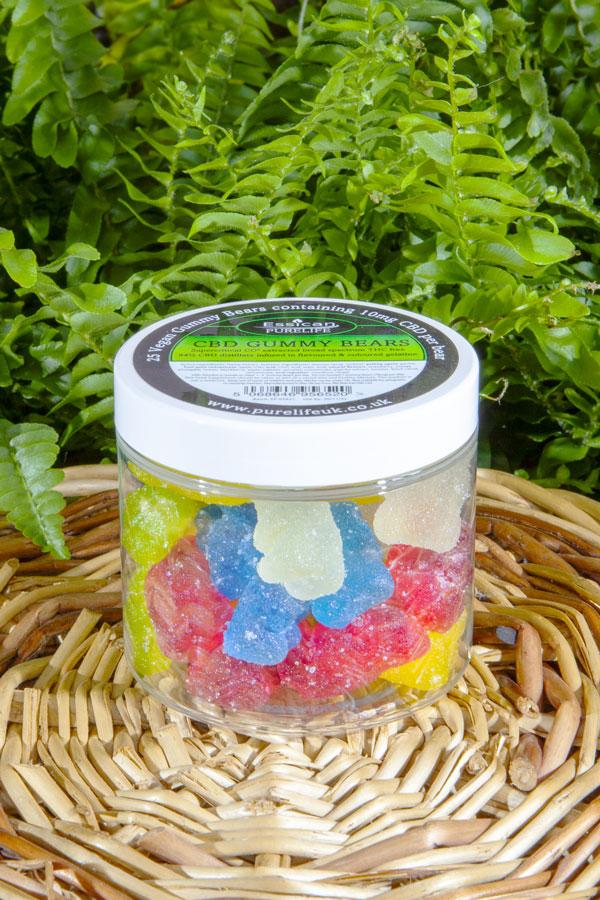 25 x 10mg Vegan CBD gummy bears by Essican Purelife